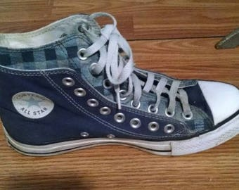Retro Converse chuck taylor all star double layer plaid 7 blue