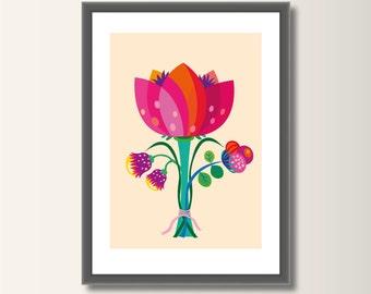 Flower art print, poster wall art, nursery decor, minimalist set pressure, minimal print