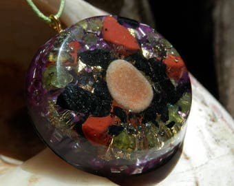Turmaline amulet. Orgonita pendant. Energy jewelry. Crystals necklaces. protection amulet. Metaphysical pendant.