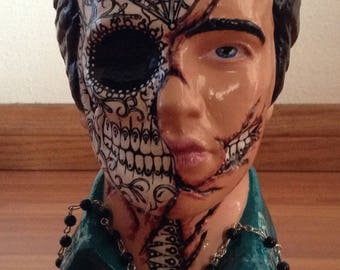 Day of the Dead Elvis Presley bust 2 Rockabilly Psychobilly Horror goth monster tattoo decor
