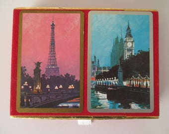 Vintage Playing Cards, Eiffel Tower Cards, Big Ben Cards, Antique Congress Playing Cards, 2 Decks of Collectible Vintage Playing Cards