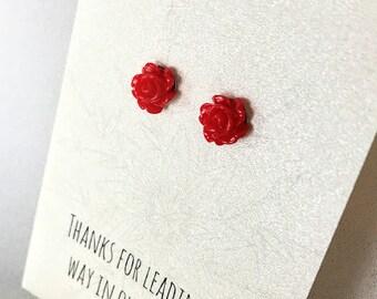 Flower Girl Gift - Flower Girl Proposal - Flower Girl Earrings- Earrings for Sensitive Ears - Red Rose Earrings - Stud Earrings