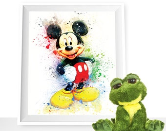 80%OFF Mickey Mouse wall art, mickey mouse Watercolor mickey mouse printables mickey mouse Art Print mickey mouse Disney Wall Art Disney art