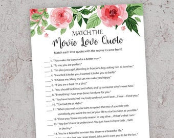 Match the Movie Love Quote, Printable Bridal Shower, Floral Bridal Shower Games, Movie Quote Game, Movie Love Quotes, Famous Quotes, J003
