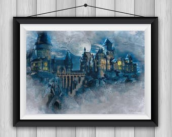 Harry Potter Hogwarts Castle Watercolor Smudge Art Printable. Perfect Gift for Birthday, Housewarming, Nursery Decor, Kids Rooms, Wall Art