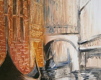 painting city, original oil painting, Valentine's day, gift for him, gift for her, Venice, love, wall art, romantic, summer party