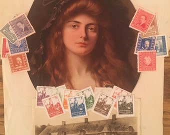 Pre-WWI Collage: Beautiful Woman, Estate, Letter Seals--Unique Vintage Art