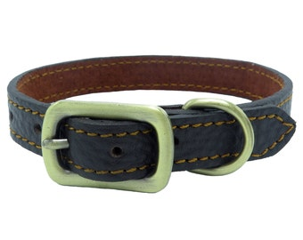 Tails and Threads Luxury Genuine Dark Brown Leather Dog Collar (Small)