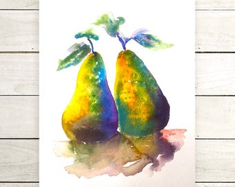 original watercolor pears-pears painting-wall decor-kitchen art-house warming-one of a kind artwork-fruit illustration