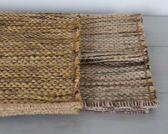 SMALL Woven Rag Rug,  Handwoven Carpet, yellow, bronze, brown, Handwoven Rug, Throw Rug, Boho Rug, Portuguese Rug.
