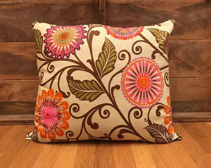 COVER ONLY: Pillow Style Dog Bed with a Bright Retro Floral Print Cover
