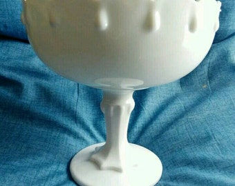 "Vintage Indiana Glass Company - Milk Glass Tear Drop Pedestal - 7 1/2"" Planter, Vase, Fruit Bowl, Compote"