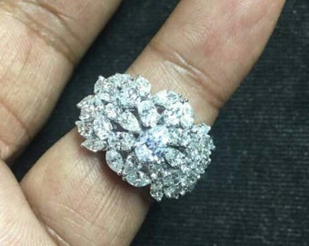 Wide set pear shape cz sterling silver ring