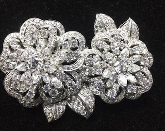 Sterling silver 925 5a grade cz flower brooch