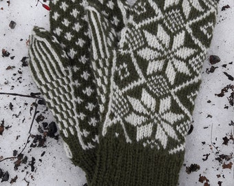 Black and white star flower knitted glove