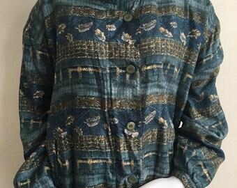 XL 1980's silk shirt jacket blue