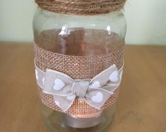 Rustic jar tea light holder