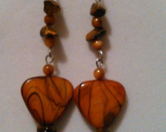 Wooden leaf with Abalone nugget earrings