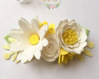 Daisy flower crown, flowercrown, felt flowers, hair accessories, Daisy Baby, Daisy Headband, Daisy flower crown