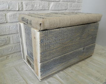 Rustic Large Wood Box with Lid covers in a Recycled Coffee Bag