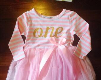 1st Birthday Tutu Dress + Crown Headband Set Pink Long Sleeve Outfit