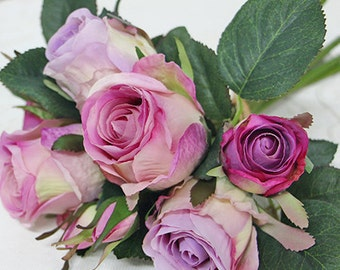 "Luxury Silk 9 Rose Bouquet in Purple 11"" Tall"