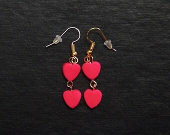 Beautiful polymer clay double heart dangle earrings.