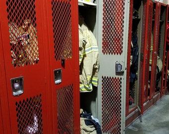 Vintage Fire Department Gear Lockers