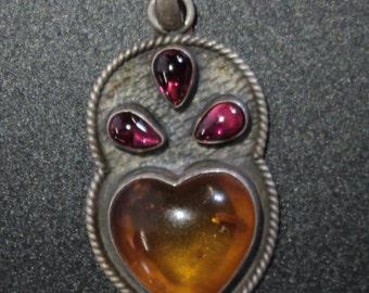 Vintage Heart Shaped Amber and Garnet Pendant