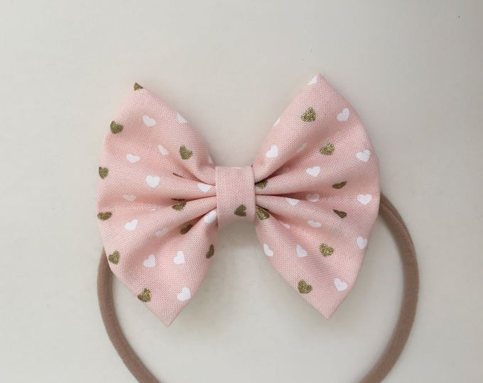 Pink Hearts fabric hair bow or bow tie