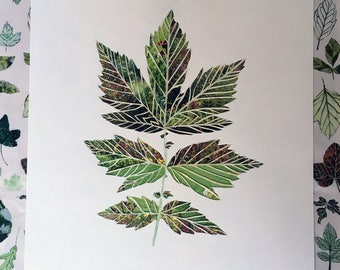 Papercut Collage - Leaf