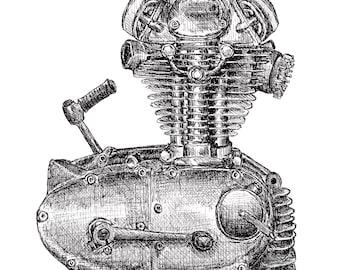 Ducati 250 Engine Pen and Ink Print Motorcycle Art