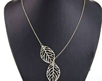 Double Silver Leaf Lariat Necklace