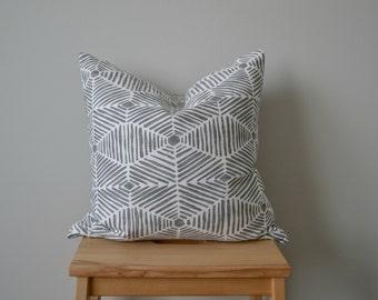 SALE!! Summerland Grey Throw Pillow. 18x18 Pillow Cover. Decortative Pillow. Modern. Geometric.  Ready To Ship.