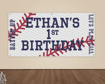 Boys Baseball Birthday Banner - Kids Vintage Baseball Vinyl Backdrop - Personalized Happy Birthday Photo Backdrop - Sports Birthday Sign