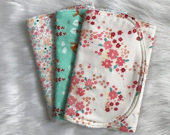 Organic Cotton Burp Cloth | Fox & Florals | Baby Girl | Baby Shower Gift | Gift Set | Baby Accessories