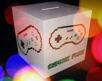 GAMING Fund, Gaming Money Box Gifts for Boys, Gifts for Men, Gifts for Gamers, Geeky Gifts, Nerd Gift, Game Fund, Retro Gaming, Gifts