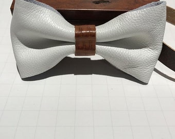 White leather bow tie