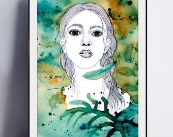 Poster, Printable art, illustration, pen, blue, green, yellow ochre