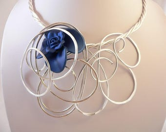 Silver statement necklace.Royal blue flower.Bold and Chunky.Unique wearable art.