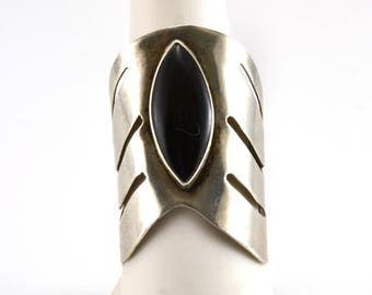 Onyz Ring, Large Ring, Sterling Silver, Size 8.75