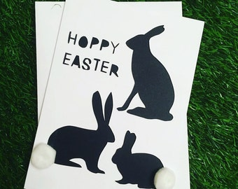 Happy Easter Greeting Card, Happy Easter, Handcut, Rabbit, Papercut, Greeting Card, Black and White, Pom Poms, Handmade, Easter