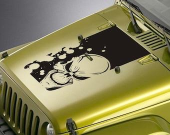 Jeep Wrangler Blackout Hood Decal Sticker - Demon Skull Splatter Design