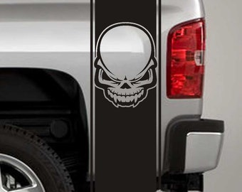 Truck Bed Stripe Decals - Tribal Skull Stickers - Universal Fit (Pair x2)