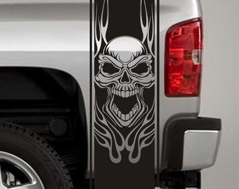 Truck Bed Stripe Decals - Tribal Flame Skull Stickers - Universal Fit (Pair x2)