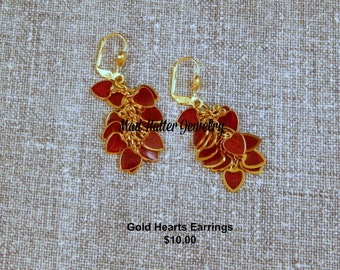 Gold and Red Heart Earrings
