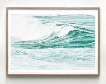 Ocean art print, nautical decor, beach photo, waves print, coastal decor,  waves photo, large wall art, turquoise blue, water and waves