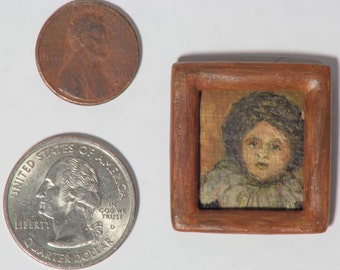 "Tiny handmade original dollhouse acrylic painting - ""Bundled Child"""