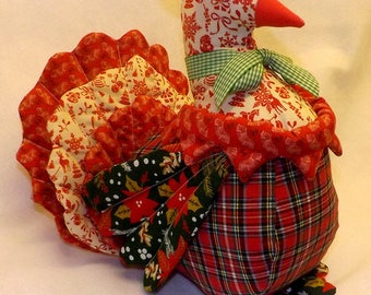 TURKEY DOLL, A very impressive hand crafted turkey creation. Multi coloured, multi patterned, hand made from the finest cottons. Collectible