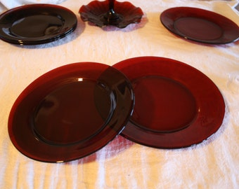 Vintage Anchor Hocking Ruby Red Plates